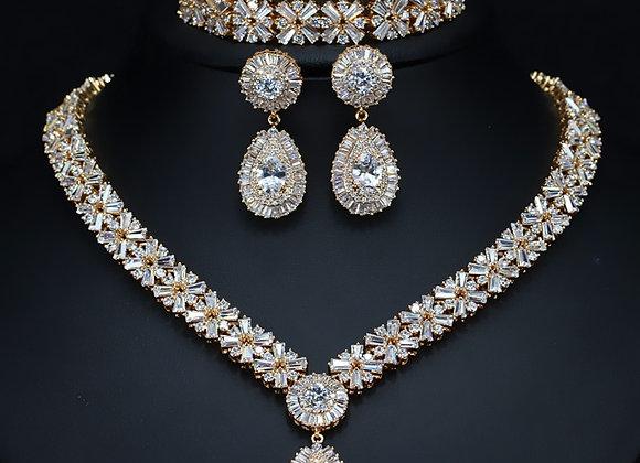 CWWZircons Exclusive Dubai Gold Plate Jewelry Luxury Cubic Zirconia Necklace