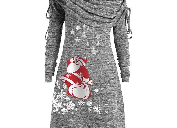 Dihope New Long Sleeve Santa Claus Dress Snowflake Print Dress Women Top Nigh