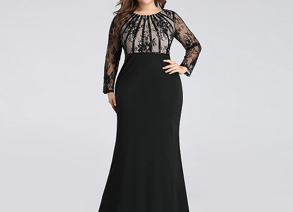 Black Dress Plus Size New Spring Mermaid O Neck Long Sleeve Dress Woman Party