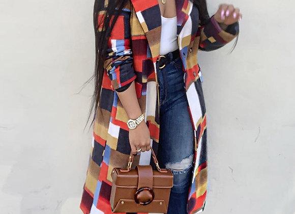 Color Plaid Wool Coat Women Fall Winter Long Woolen Coats Plus Size Overcoat