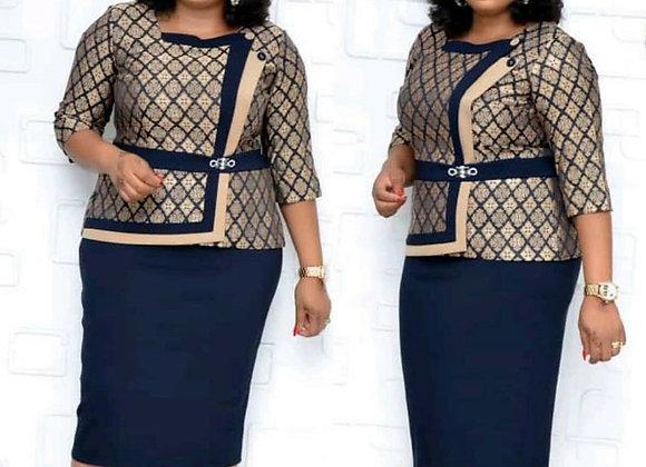 African Dresses Dashiki Bazin Riche African Ladies Clothing Autumn Office Dress