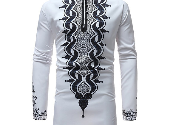African Tribal Dashiki Longline Shirt 2018 Brand New Slim Long Sleeve Mandarin
