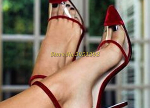 Crafted of Red Plush Velvet  Clear PVC Ankle Strap Pumps Styled With a Pointed