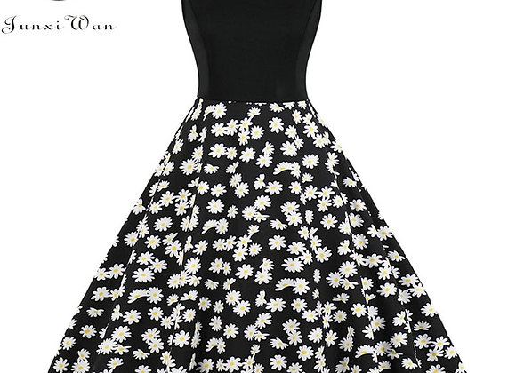 2020 Women Floral Print Dress Summer Sexy V-Neck Sleeveless Elegant Vintage