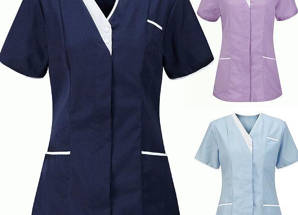 #AA24 Women's Short Sleeve V-Neck Tops Working Uniform Solid Pocket T-Shirt Blou