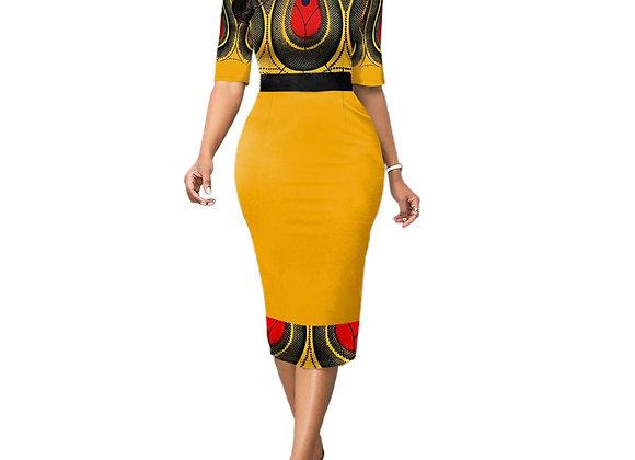 2020 Hot Ladies Fashion Half Sleeve Dress Women Elegant Round Collar Geometric