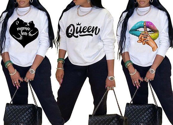 CM.YAYA Active Queen Letter Print Sweatsuit Two 2 Piece Set for Women Fitness