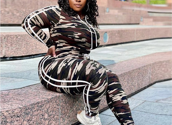 CM.YAYA Fashion Women Camouflage Tracksuit Hooded Long Sleeve Tops Pencil jogger