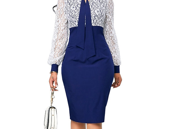 Casual Plus Size Slim Office Bodycon Dresses Elegant Long Sleeve Party Dress 5XL
