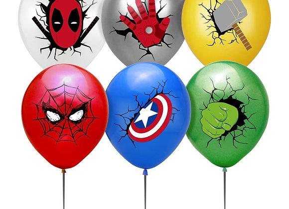 12pcs/Set 12inch Super Hero Latex Balloon Spider Shield Hammer Multiple Colour