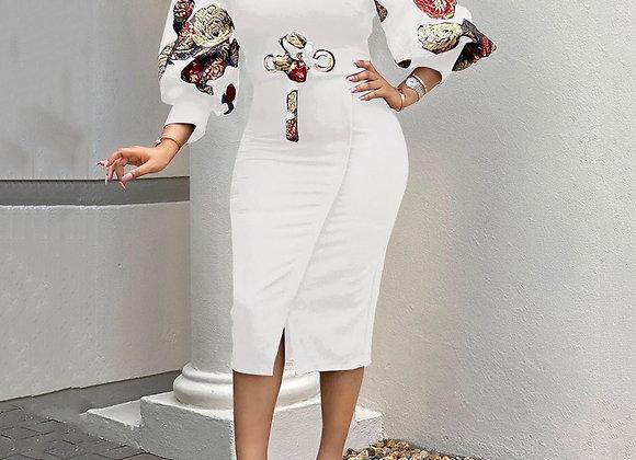 2021 Midi Dress Bodycon Plus Size African Women Pencil Dress Vintage Floral