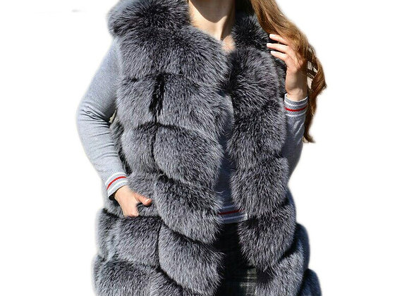 Faux Sliver Fox Fur Vest Women Winter Fashion Medium Long Artifical Fox Fur Vest