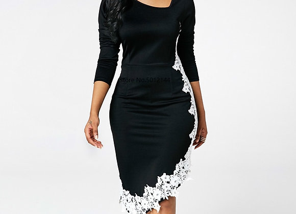Casual Plus Size Slim Long Sleeve Bodycon Dresses Elegant Vintage Sexy Irregu