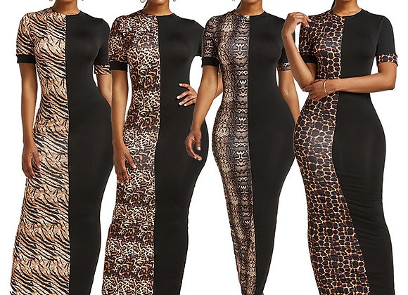 Elegant Leopard Print Patchwork Bodycon Long Dress Summer Short Sleeve O-Neck