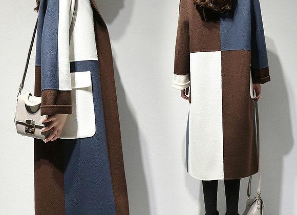 Elegant Long Woolen Coat Women Autumn Winter Plus Size Wool Overcoat Female