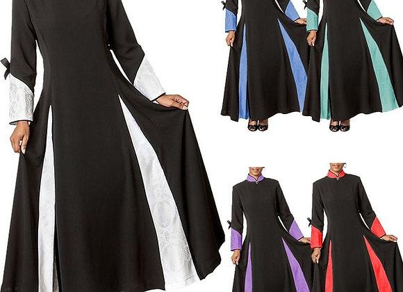 Church Women Clergy Dress Fashion Patchwork Long Sleeve Dress Patchwork