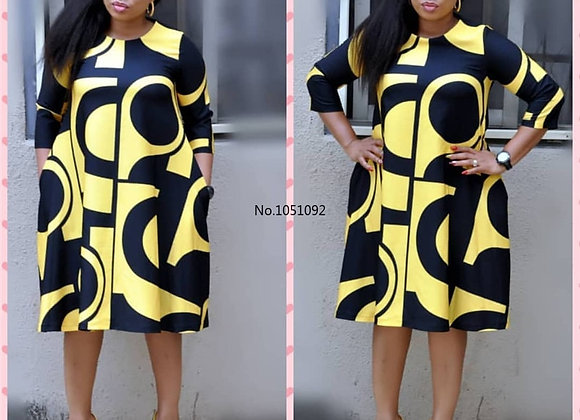 2020 New African Women's Dress Digital Print Round Collar Basic A-Line Sleeve