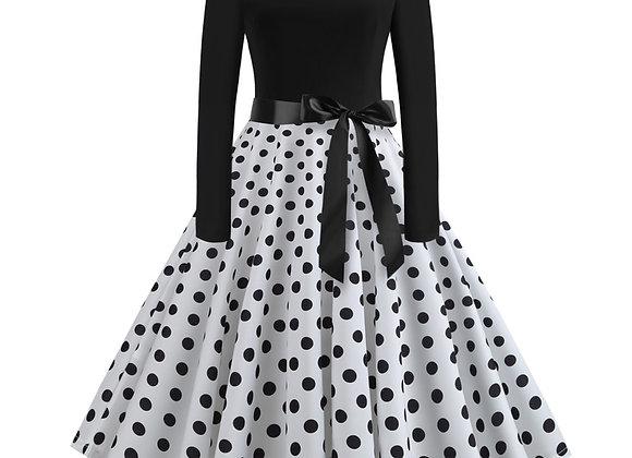 Black Swing Polka Dot Print Vintage Winter Dress Women Long Sleeve O-Neck Pinup