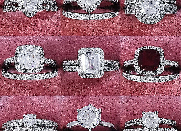 925 Sterling Silver Luxury Bold Big Wedding Rings Set for Bridal Women Engagemen