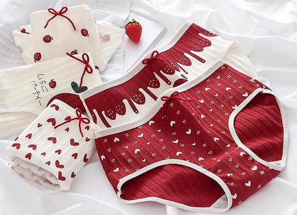 3 Pairs/Lot New Panties Women Underwear Cotton Briefs Seamless Cute Calcinhas