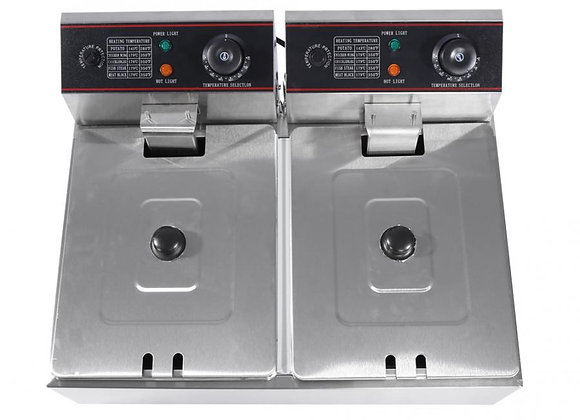 EU Plug Commercial Professional 12L Stainless Steel  Double DeepTank Electric