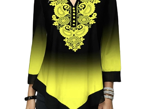 3XL 4XL 5XL Women Boho Print Long Sleeve T Shirt Plus Size New Autumn Irregular