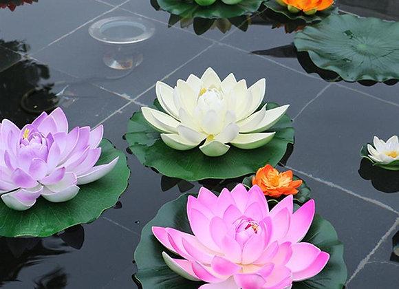 5pcs Artificial Floating Water Lily EVA Lotus Flower Pond Decor 10cm Artificial