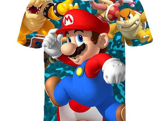 3D Printed Summer Boy/Girl Sonic Hedgehogs and Super Mario Cartoon T-Shirts for