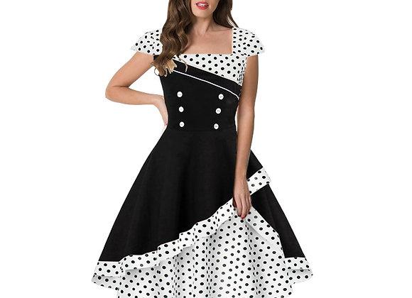 Cute Pin Up Vintage Retro 50s 60s Elegant Women Polka Dot Printed Short Sleeve