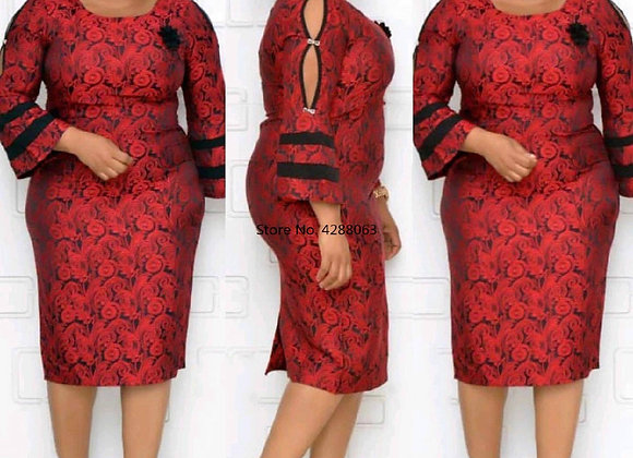 African Women O-Neck Printing Plus Size Dress African Clothing African Dresses