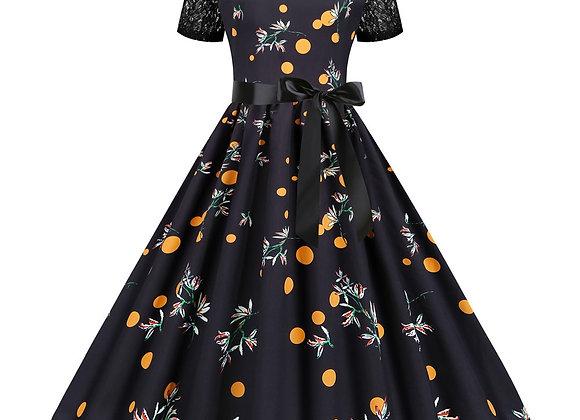 Black Lace Patchwork Summer Dresses Women Retro Vintage Pinup Robe Short Sleeve