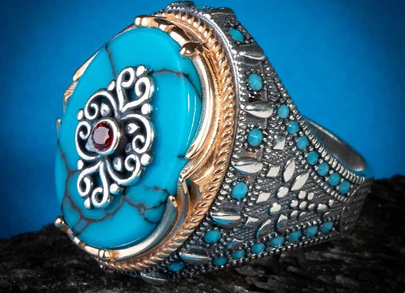 925 Sterling Silver Turquoise and Red Zircon Men's Ring With Sword Figures Oval