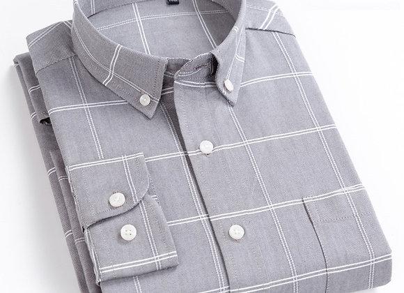 100% Cotton Oxford 8XL Striped Plaid Oversized Shirt Longsleeve Shirt for Men