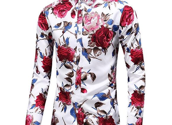 Autumn Men Slim Floral Print Long Sleeve Shirts Fashion Brand