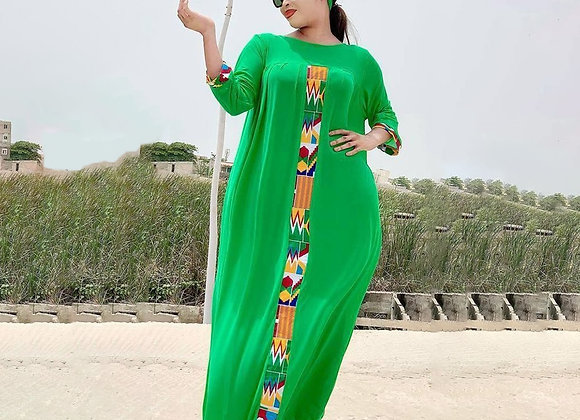 2 Pieces Set Boho Loose Solid Three Quarter Sleeve Long Maxi African Dresses