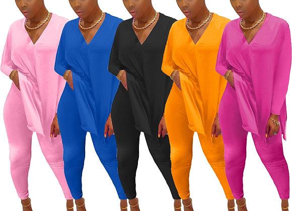 CM.YAYA Fashion Solid Women Two Piece Set Split Side V-Neck Tops Jogger Sweatpan