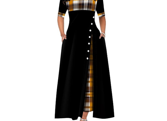 Elegant Long Maxi Dress Women Summer Plaid Print Office Lady Dress Vintage