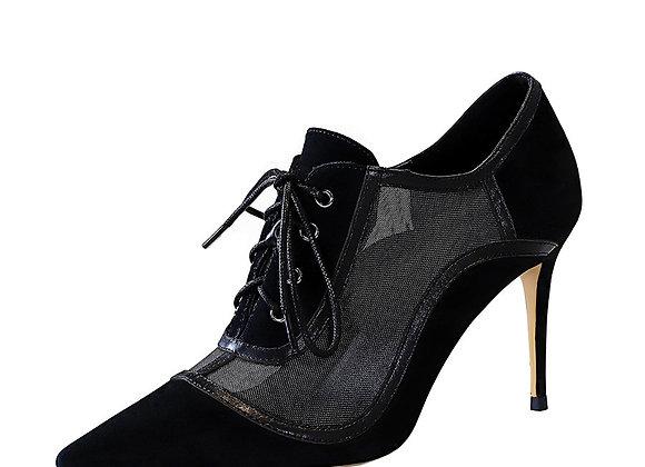 BIGTREE Sexy Women Boots Slim Nightclub High Heel Suede Pointed Mesh Hollow