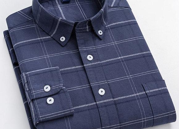 8XL Solid Color Striped Shirt Cotton Oxford Men Shirts Long Sleeve Loose Oversiz