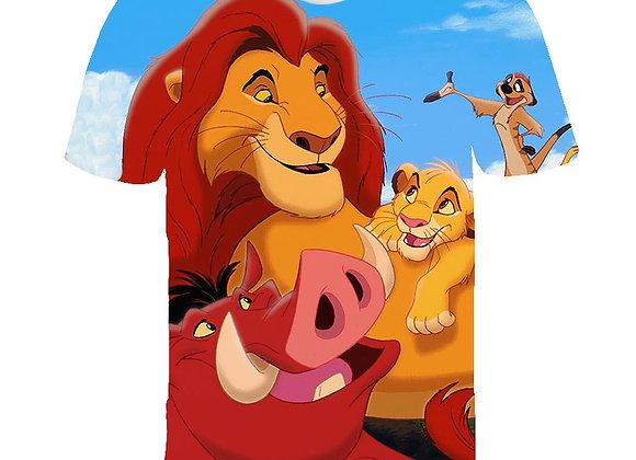 Children's Clothing T-Shirt 3D Cartoon Anime Lion King Boy Girl T Shirt O-Neck