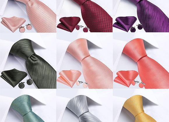 DiBanGu Men Tie Solid Pink Color Formal Wedding Necktie Silk Jacquard Woven Tie