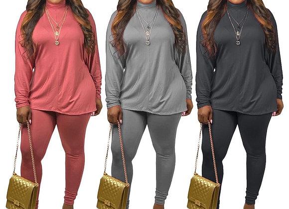 CM.YAYA High Streetwear Women's Set Two Piece Set Turtleneck Long Sleeve Tops