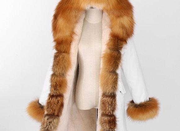 2020 New Real Fur Coat Women White Waterproof Plus Size Faux Fur Liner
