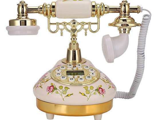 Antique Retro Telephone Corded Landline Home Phones Round Base Ceramic European