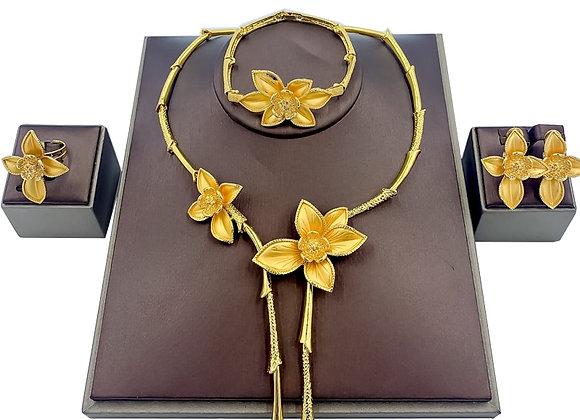 Dubai Jewelry Gift Elegant Women Flower Shape Big Necklace African Bridal We