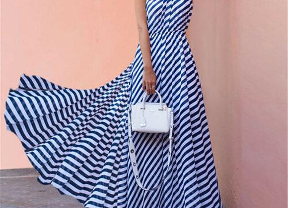Boho Long Maxi Dresses Sleeveless Backless Halter Blue Striped Dress Vestidos