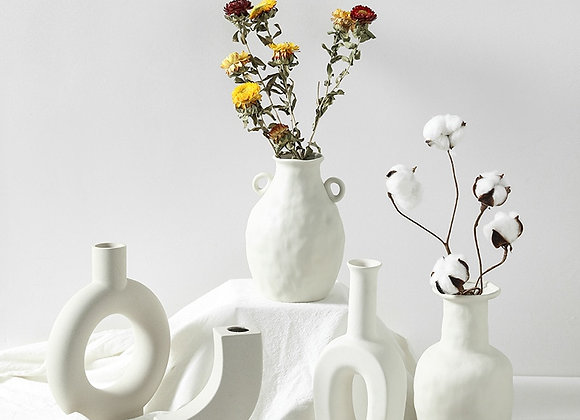 Ceramic Table Flower Vases Nordic Home Decoration Accessories Modern White Plant