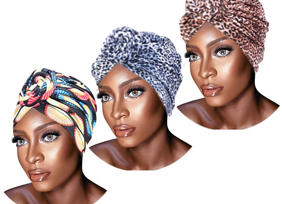 3 Pack Set of PRE-TIED Women Headwrap Turban With Rose Flower Knot Bonnet Beanie