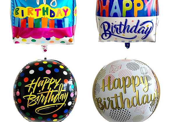 1Pcs 22inch 4D Happy Birthday Foil Balloons Gold Global Birthday Party Decor Wed