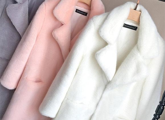 Bella Philosophy Women Mink Faux Fur Coat Solid Female Turn Down Collar Winter